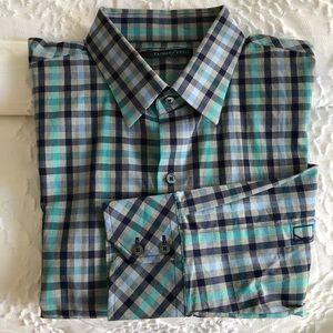 Zachary Prell Cotton Long Sleeve Plaid Dress Shirt